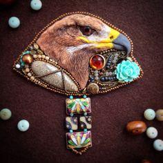 """Купить Брошь """"Индейское бохо"""" - орел, индейский стиль, индейские мотивы, индейская брошь, птица"""