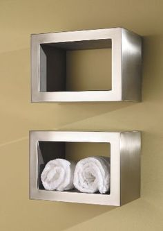 These square towel heater shelves are so stylish, not to mention practical.