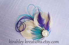 MARLA -- Champagne Ivory Peacock with Accenting Purple and Teal Turquoise Feathers, Bridesmaid Bride Wedding Hair Clip Fascinator