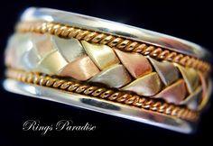 14 Gold Celtic Jewelry, Unique Celtic Wedding Bands, Celtic Bands, Authentic Celtic Ring, Pagan Jewelry, Amazing Irish Ring, Weddings Ring by RingsParadise on Etsy