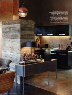nice old wood paneling. Love. Someday plan to have a house full of rustic materials in a modern design. ;)