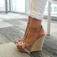 2a13443c0286 Shoespie Solid Color Straw Wedge Sandals Nude Wedges