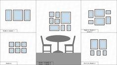 Примеры схем развески фото на стене: над диваном, над столом, над камином, над лестницей.
