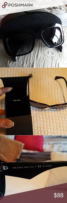 Prada sunglasses Athuentic. 3P = high level of protection, Polarized black sunnies. Oversized. Does have a few scratches on top left lens but it doesnt interfere with vision. Scratch is shown on 7th pic. (2nd to last) black frame also has minimal scratches. You have to look very closely to see them. Offers welcome. Will price drop to save you a bit on shipping(: Prada Accessories Glasses