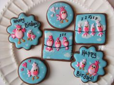 Fun, Pretty Little Pink Birds on Sky Blue with Clouds Iced Cookies - Really Cute Bird Cookies, Santa Cookies, Galletas Cookies, Flower Cookies, Cute Cookies, Cupcake Cookies, Cupcakes, Vintage Cupcake, Christmas Tree Cookies