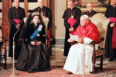 For a second visit to the Pope in Rome, she again wore a full-length black gown with a black veil - she is a real stickler for tradition and protocol, compared to various other Royal families who have visited the Papal palace in Rome recently...