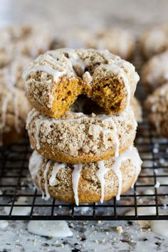These thick coffee-cake like donuts made with pumpkin, spice cake, and a crumble topping are the perfect morning treat. Total Time: 30 minutes Skip to Recipe Donut Monday! Is that a thing? No? I'm making it a thing. Since I  donuts and believe…
