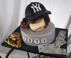 Yankees themed cake for a True baseball fan and burger lover!! With Christina Dasaro Design!