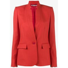 Stella Mccartney Wool Collarless Blazer (4,520 PEN) ❤ liked on Polyvore featuring outerwear, jackets, blazers, red, collarless jacket, stella mccartney, long sleeve jacket, wool blazer and long sleeve blazer