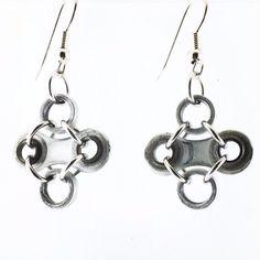 Bike chain earrings diamond shaped cycling by WanderingJeweler