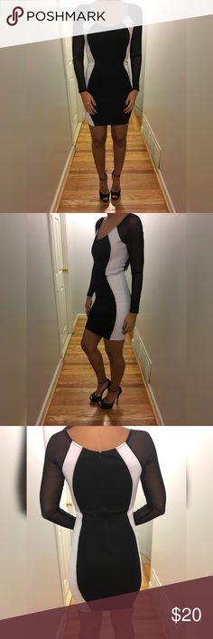 Black/White cocktail dress Black/White cocktail dress, sheer sleeves  NEVER BEEN WORN hot miami styles Dresses Mini