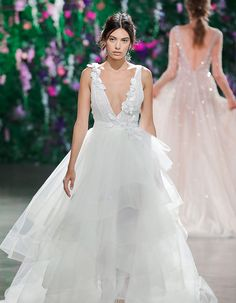 Fall in love with this deep plunge Galia Lahav gown and these 13 other gorgeous trends seen at Bridal Fashion Week 2018!