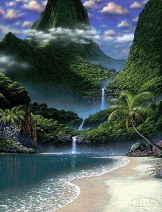 animated fall scenery photo: Beach and Waterfall-Animated beach-wtrfall.gif