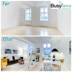 Living room in Århus, Denmark, before and after home staging.