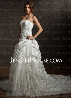 Wedding Dresses - $199.69 - Ball-Gown Strapless Chapel Train Taffeta Lace Wedding Dresses With Ruffle Beadwork Sequins (002012036) http://jenjenhouse.com/Ball-Gown-Strapless-Chapel-Train-Taffeta-Lace-Wedding-Dresses-With-Ruffle-Beadwork-Sequins-002012036-g12036
