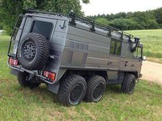 Pinzgauer which can be easily converted to 4 wheels with hand tools from the Graz military. Independent coiled springs with lockers.