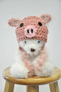 Pig Hat with Curls by JLloPhotographyProps on Etsy, $28.99