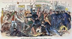 NEW YORK: DRAFT RIOTS. Charge of the police on the rioters at the Tribune office in Printing House Square during the New York City Draft Riots of 13-16 July 1863: contemporary colored engraving.