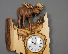 Moose Carved on Wood Wood Carving with Bark Hand Made Gift Wall Hanging clock for the moose lovers Rustic OOAK Gift for a Hunter Cabin Deco