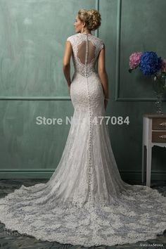 Real photo 100% Sexy V Neck Lace sereia vestidos de casamento com um trem robe mariage 2015 ver através botão vestidos de noiva Up