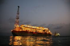 Night view of the FPSO for the offshore Akpo field, Nigeria