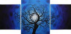 Triptyque moderne : Nuit d'arbre. Approximativement 20 Heures de réalisations. Pour voir un aperçu vidéo de cette peinture, rendez-vous sur : https://youtu.be/49i4wKwJ7Gc  Format général : 114 cm x 55 cm x 2 cm. Pour acheter cette œuvre, rendez-vous sur : https://www.artmajeur.com/fr/art-gallery/gallery/1520011/10626436/nuit-darbre #acheter #triptyque #peinture #nuit #arbre #silhouette #tableau #moderne #bleu #œuvre #art #contemporaine #ciel #lune