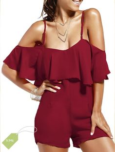 Alluring Spaghetti Strap Solid Color Backless Romper For Women