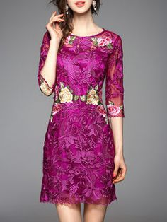 Purple Casual Floral Floral-embroidered Polyester Mini Dress