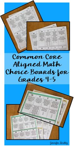 Math Choice Boards Aligned to the Common Core Standards. Higher order thinking, creativity, and choice. Perfect for math centers and enrichment.