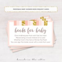 Baby shower book request cards pink and gold baby shower books for baby  pink and gold polka dots gift request insert printable DIGITAL by HandsInTheAttic