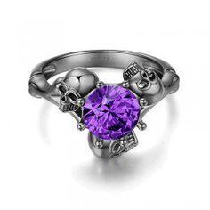 Round Cut Amethyst Rhodium Plated Sterling Silver Three-Skull Design Skull Ring
