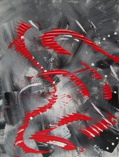 """""""Red Splash 2 """" abstract by Julie Crisan. www.artbyjuliec.com.  Compliments """"Red Splash 1"""".  9x12 original available for sale fully framed."""