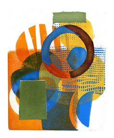 by Joan Gillman Smith 'Warm and Sunny' | Flickr.. Monotype with collage