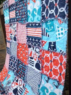 Rag Quilt -Toddler - Boy - Bedding Nautical Michael Miller Ahoy Matey Modern Handmade