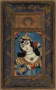 بانوی جوان، نقاشی پشت شیشه، قرن 19 میلادی، 45 در 27 سانتیمتر REVERSE-GLASS PAINTINGS OF MAIDENS, PERSIA, EARLY 19TH CENTURY glass, painted in reverse, coloured and gilt wood frames 45 by 27 cm