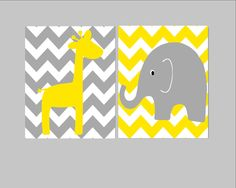 Nursery Wall Decor- Kids Art Prints- Set of 2 Prints for Nursery or Kids Room- Chevron Elephant and Giraffe- Gray and Yellow Nursery. $29.00, via Etsy.