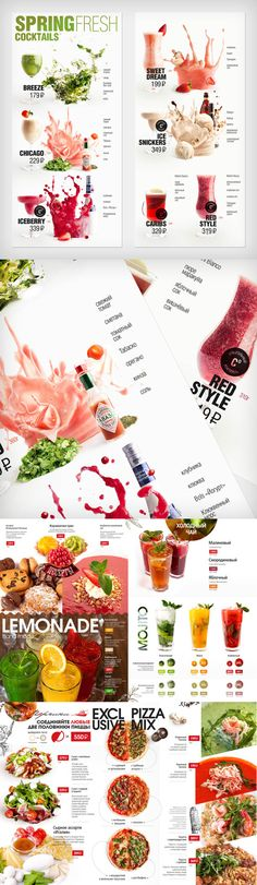dynamic photography and use of photos; looks warm but professional Drink Menu Design, Menu Card Design, Restaurant Menu Design, Food Graphic Design, Web Design, Food Design, Menue Design, Food Catalog, Juice Menu