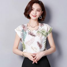 df49714c7a8bd fashion 2018 chiffon women blouse shirt summer short sleeve print women s  clothing plus size o-