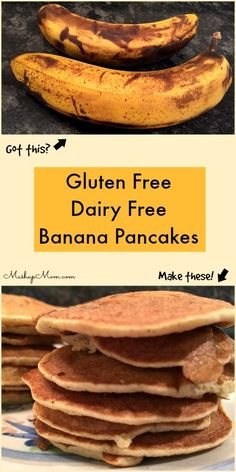 Gluten Free Dairy Free Banana Pancakes -- Easy single flour no Xanthan gum recipe to use up overripe bananas. Tastes like banana bread wrapped up in a pancake! Dairy Free Pancakes, Pancakes Easy, Banana Pancakes, Banana Bread, Pancake Muffins, Dairy Free Recipes Easy, Dairy Free Diet, Allergy Free Recipes, Gum Recipe