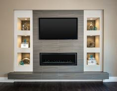 Living Room Wall Designs, Living Room Wall Units, Living Room Themes, Open Plan Kitchen Living Room, Fireplace Feature Wall, Fireplace Tv Wall, Modern Fireplace, Living Room With Fireplace, Living Room Built Ins
