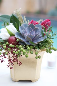 holiday floral arrangement with succulents Succulent Centerpieces, Succulent Arrangements, Wedding Arrangements, Floral Arrangements, Centrepieces, Christmas Flower Arrangements, Beautiful Flower Arrangements, Christmas Centerpieces, Beautiful Flowers