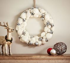 White Pom & Silver Bell Wreath this would be fun to make! White Pom-Pom & Silverbells Wreath With Appropriate Sidekicks. I saw this Pottery Barn wreath and fell in love. And then I saw the price… Beautiful Christmas Wreaths - Stylish Holiday Wreaths for Christmas Makes, All Things Christmas, Beautiful Christmas, Christmas Fun, Christmas Decorations, Christmas Pom Pom Crafts, Garden Decorations, Rustic Christmas, Pom Pom Kranz