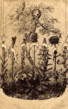 Félix Bracquemond, 1857 Etching Unpublished frontispiece for 'Les Fleurs du Mal' by Baudelaire (1857): a skeleton standing before seven flowers representing the seven deadly sins; his arms extend outwards, enveloped with fruits on branches; the title of the publication at bottom centre.