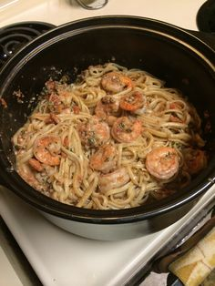 Basil tomato pesto shrimp with linguini done in my rock crock!