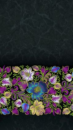 iPhone wallpaper black pattern with colorful flowers in bottom third