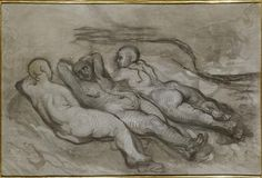 Study of three naked women lying at the foot of a cliff, Honore Daumier Size: 140x94 cm
