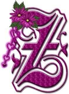 Alfabeto floral rosa chicle....mayuscula...Z