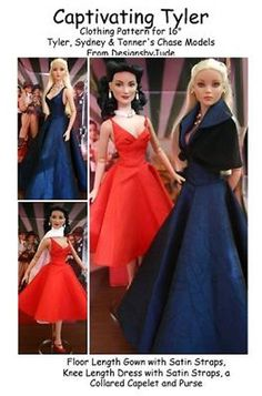 Captivating, the pattern includes a floor length gown with satin straps, a knee length dress with satin straps, a caplet with attached collar and a purse. Sewing Clothes, Doll Clothes, Floor Length Gown, Prom Dresses, Formal Dresses, Fashion Seasons, Clothing Patterns, Fashion Dolls