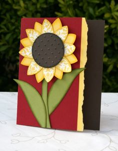 handmade card with paper pieced sunflower ... like the layout done in bold deep colors ...