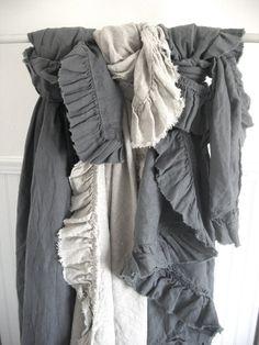 vintage linen ruffle throw